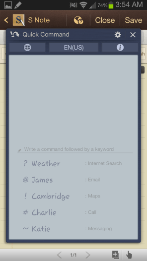 Samsung Galaxy Note II - Quick Command Options