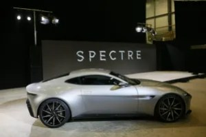 "An Aston Martin DB10 car is seen during an event to mark the start of production for the new James Bond film ""Spectre"", at Pinewood Studios"