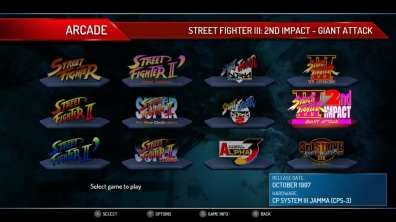 Street Fighter 30th Anniversary Collection Menu