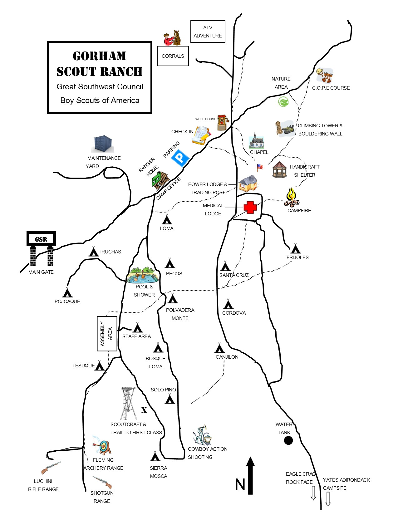 Map of Gorham Scout Ranch