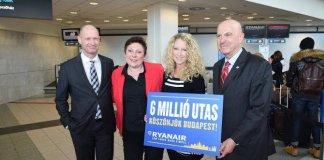 A Ryanair a hatmilliomodik budapesti utasát ünnepli