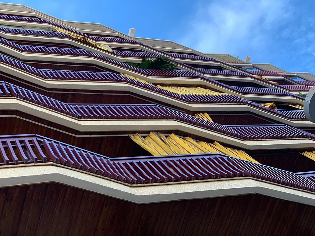 Vista de los balcones de la fachada rehabilitada de la sede de GTA Europa