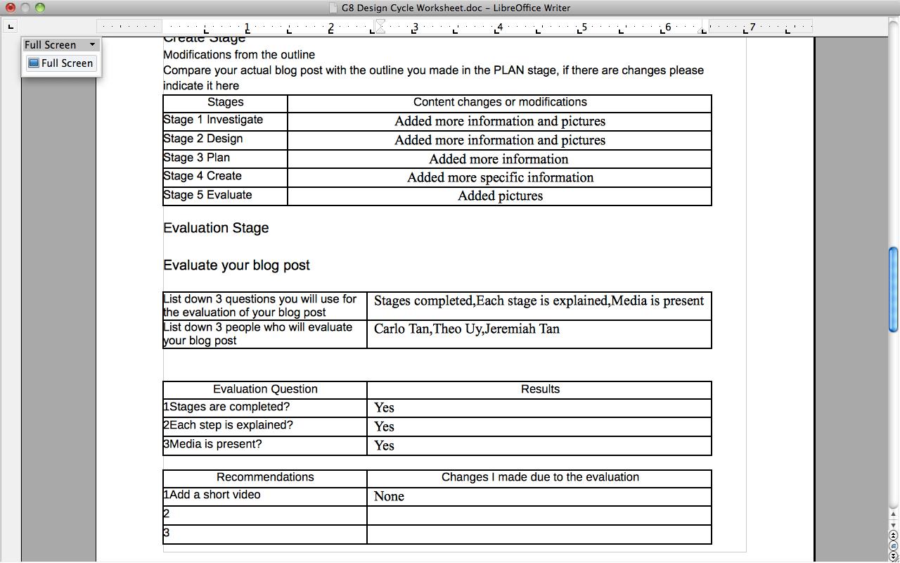 Design Cycle Worksheet