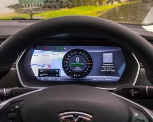 2015 Tesla Model S P85D Speedometer View