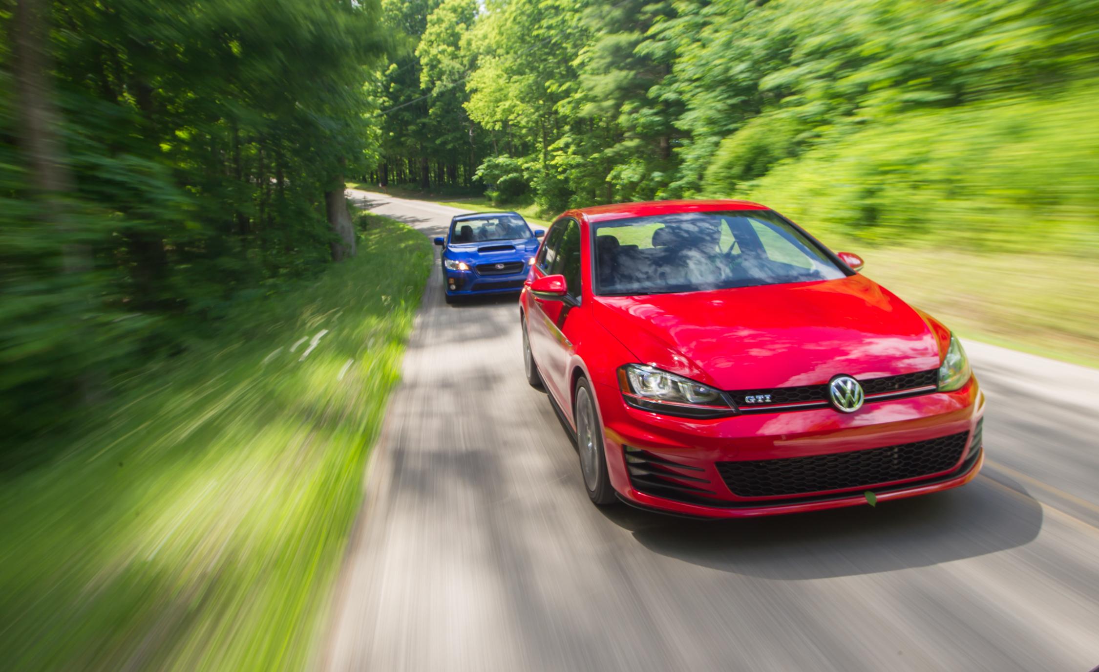 Front View 2015 Volkswagen GTI vs Subaru WRX