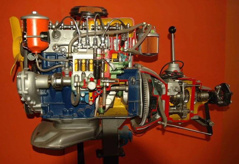 cut-away model of Diesel engine