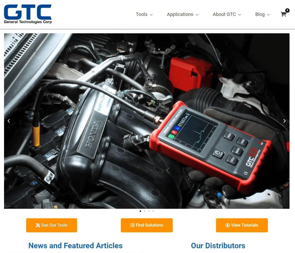 screenshot of current GTC website