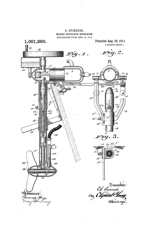 patent drawings of evinrude outboard