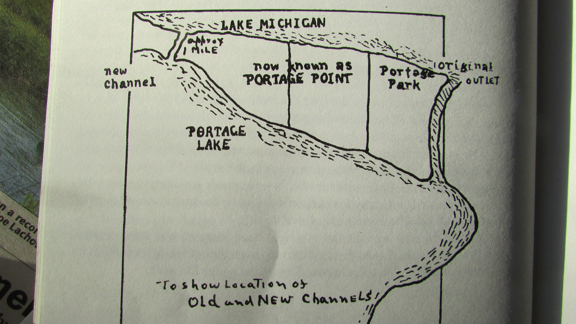 hight resolution of map from story of portage showing the location of the old and new