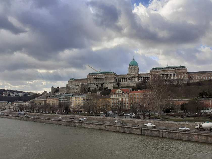 The baroque Buda Castle, as seen from the Széchenyi Chain Bridge