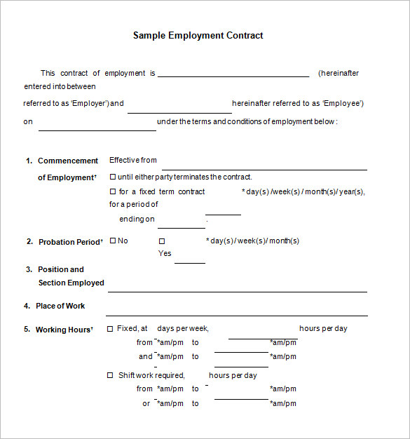 Employment Agreement Sample In Word | gtld world congress