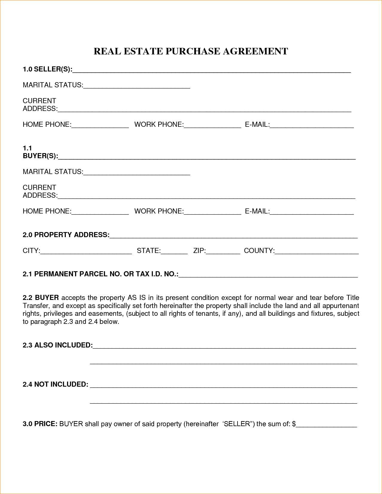Free Blank Purchase Agreement Form Images To Home Sale