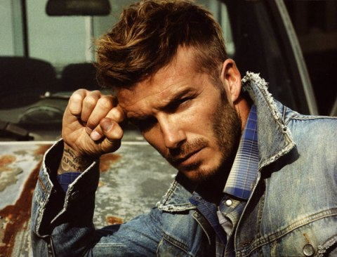 David Beckham Messy Hairstyle With The Swept Aside