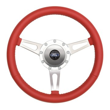 38-32455 GT9 Retro Wheel, Cobra Style, Red Leather - GT Performance