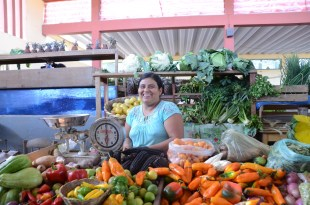 Erica at her vegetable stall