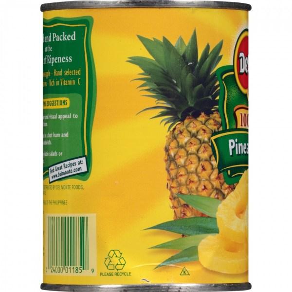 Del Monte Fruit Pineapple Slices 100 Juice 20oz