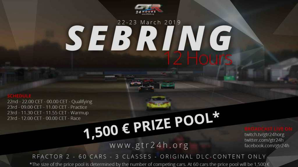 12 Hours of Sebring Signup Now Open - GTR24h - Endurance