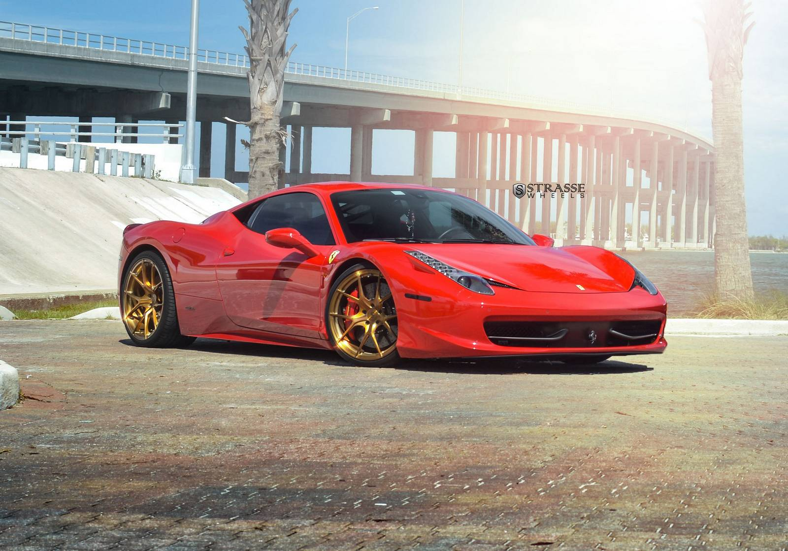Rosso Corsa Ferrari 458 Italia On Bronze Strasse Wheels