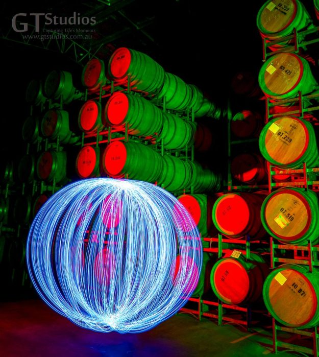 Helping to mature these wines with some special light painting.