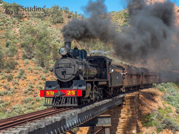 NM25 on the bridge at Saltia on the Pichi Richi Railroad, between Port Augusta and Quorn, South Australia