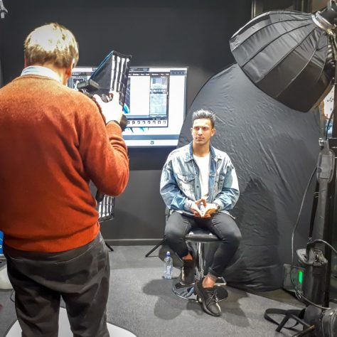 A behind the scenes image of Graham getting a chance to be hands on with the Fuji GFX in a studio setting - great idea by the rep!
