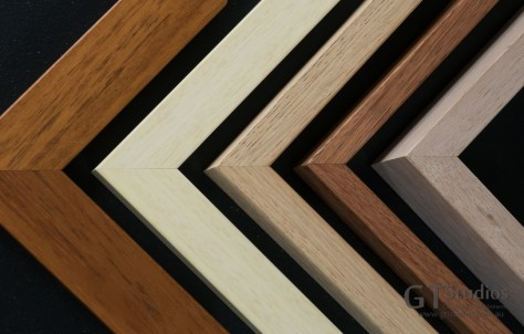 Some of the timbers available for your wall art framing (size and colour options): Large Teak, Medium Birch, Miltwood, Heartwood, Large Tasmanian Oak