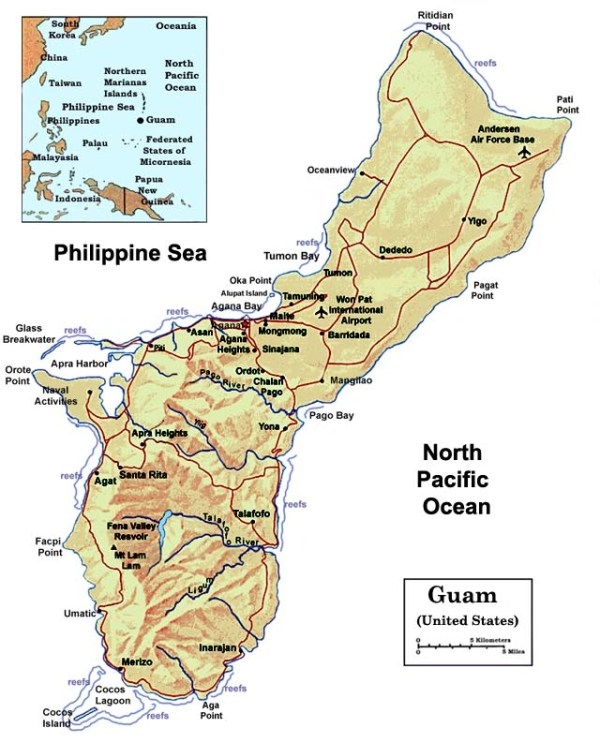 Maps The US Pacific Island Territory of Guam