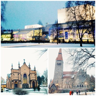 9. (Top, bottom left, and bottom right) the Tampere Hall, Concert, and Congress Centre; the Finlayson Church (at its peak Finlayson had over 3,000 employees, and the company had its own town with a church, police post, and fire station); as well as the Tampere Cathedral.