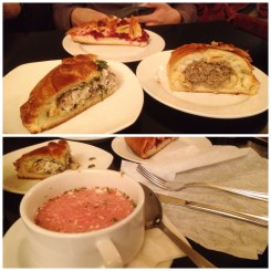 "12. ""Kulyebyaka"" with meat pie, rabbit and mushroom pie, cowberry pie in the top picture, and the borsch soup in the bottom picture. The rabbit and mushroom pie was particularly good."