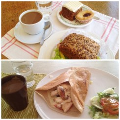 10. Breakfast of carrot cake, berry tart, and a ham sandwich; lunch of a mushroom and chicken crepe.