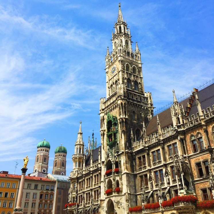 1. It took my breath away, the Neues Rathaus (New Town Hall), when we walked into Marienplatz for the first time. The town hall houses the city government, but visitors flock to it three times a day to watch the Rathaus-Glockenspiel, an automated clockwork performance just below the clock which chimes and re-enacts two stories from the sixteenth century. It is quite an experience, watching it for the first time, and observing the many camera- or smartphone-equipped tourists jostling to get a better view of the spectacle.