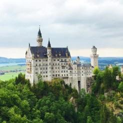 13. The Schloss Neuschwanstein, a photograph taken from Marienbrücke.