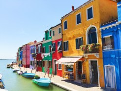 17. A view of the canals and buildings at Burano.