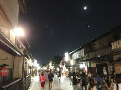 20. Along Gion, or the traditional geisha quarter, we ran into two maikos or apprentice geishas. The Gion district was once the most well-known geisha district in the past, but now it houses hotels, shops, and dining establishments instead.