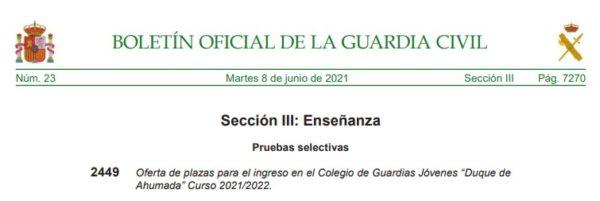Oferta de Plazas Guardia Civil 2021-22. Boletín Oficial de la Guardia Civil