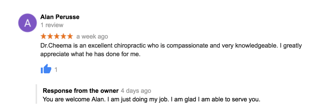 Dr. Cheema is an excellent chiropractic who is compassionate and very knowledgeable. I greatly appreciate what he has done for me.