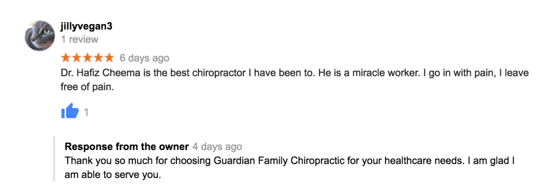 Dr. Hafiz Cheema is the best chiropractor I have been to. He is a miracle worker. I go in with pain, I leave free of pain.