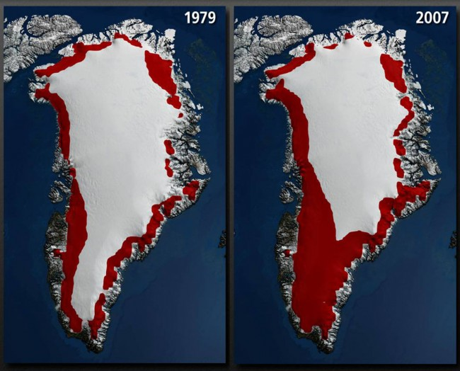 Global Greenland's Melting Ice Caps Comparison