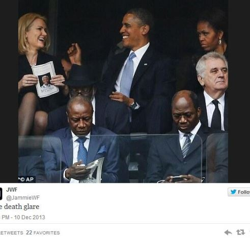 Obama Selfie at Mandela Memorial Earns Glare From Michelle
