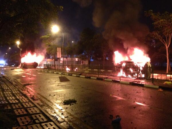 Burning cars in Little India