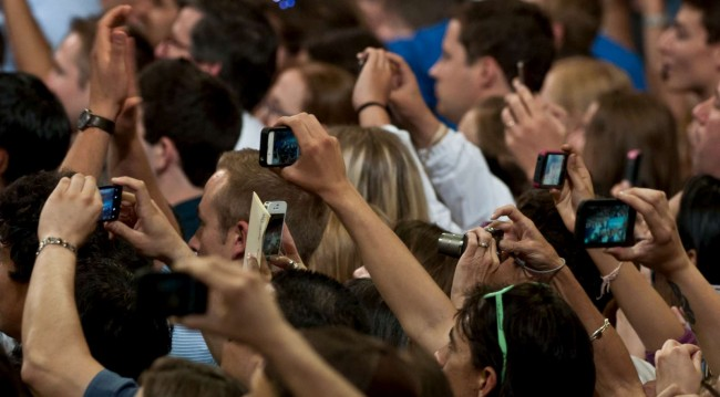 Smart Phones being used as cameras at an event