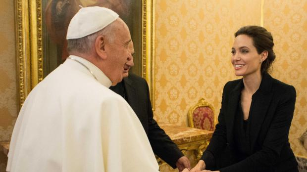 Pope Francis Welcomed Angelina Jolie to Vatican