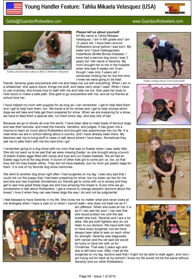 G:Magazine Issue 1 of 2014Young handler articleYoung Handler