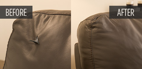 how to repair a large tear in leather sofa corner lounge beds furniture before and after pictures guardsman rip couch
