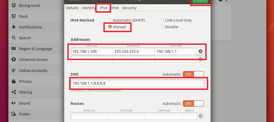 Configurar dirección IP estática en Linux