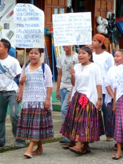 Daniel's students demonstrating against HIV