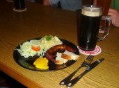 German sausage and beer in Honduras
