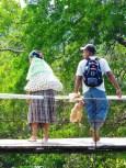 baby, chicken, suspension bridge