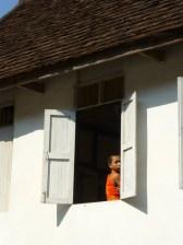 monk behind the window