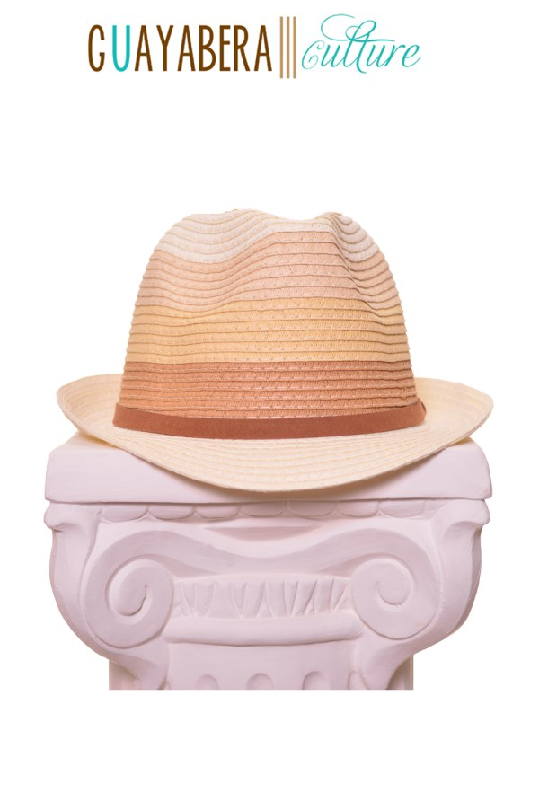 DR Fedora Tan Brown Yellow Stripes Leather Band Front